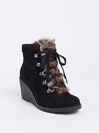 Black Faux Fur Wedge Bootie (Wide Width), BLACK, hi-res