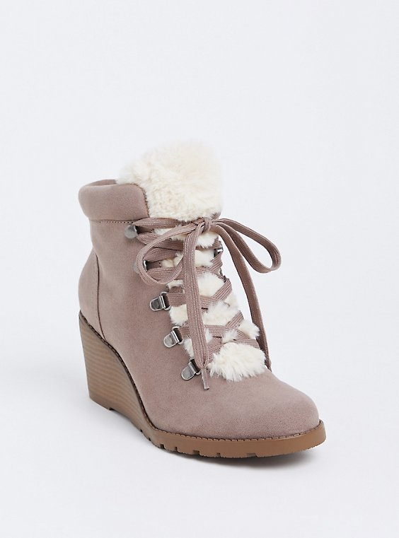 Taupe Faux Suede Sherpa Wedge Bootie (Wide Width) , , hi-res