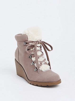Taupe Faux Suede Sherpa Wedge Bootie (Wide Width) , TAN/BEIGE, hi-res