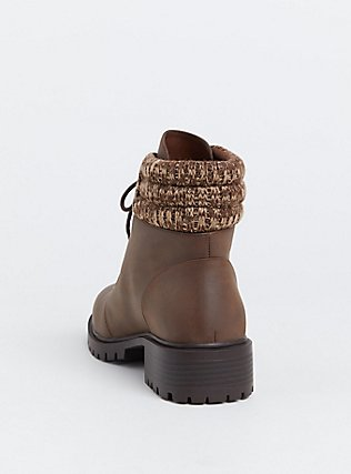 Brown Faux Leather Sweater Trimmed Hiker Boot (Wide Width), BROWN, alternate