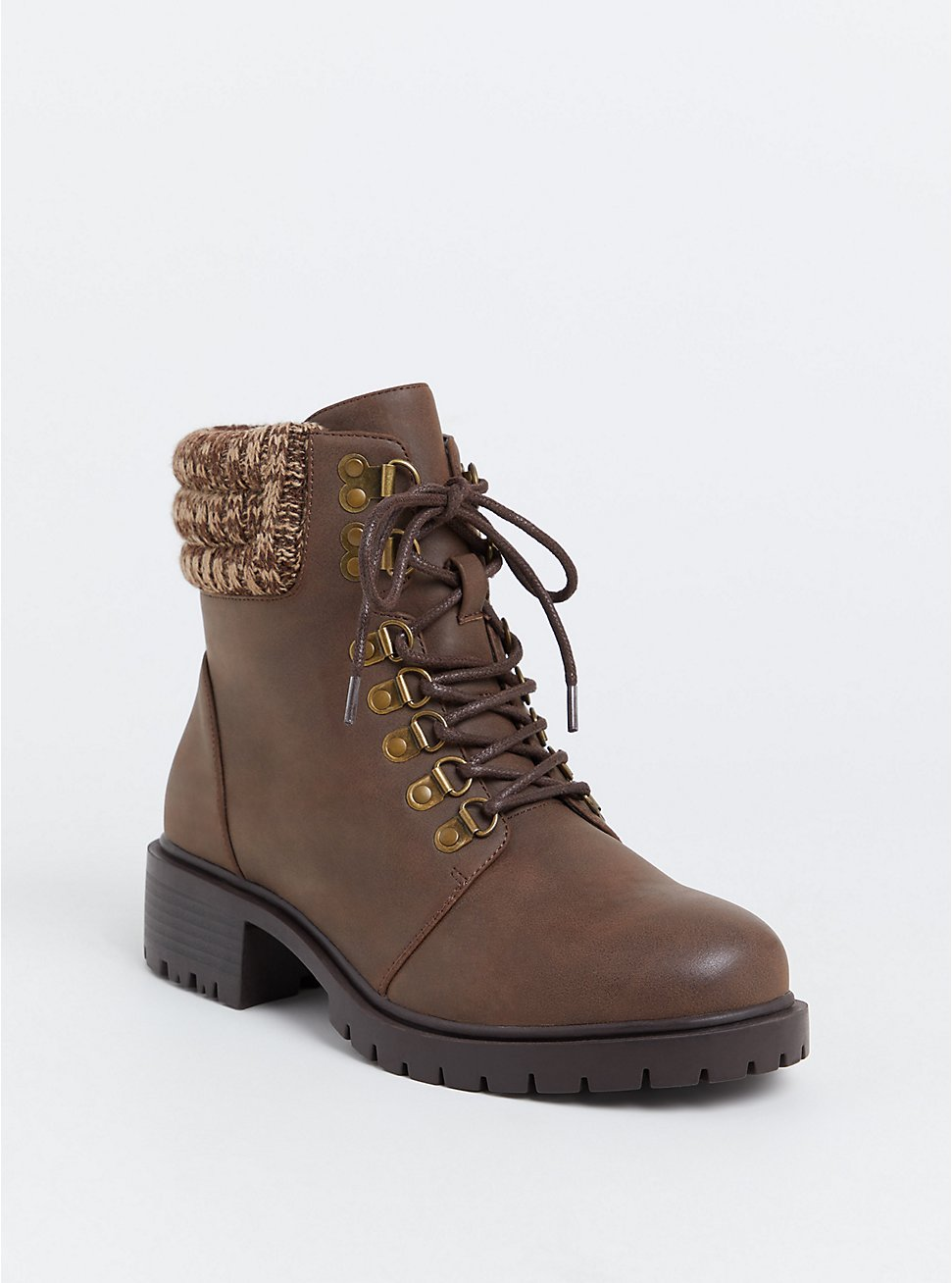 Brown Faux Leather Sweater Trimmed Hiker Boot (WW), BROWN, hi-res