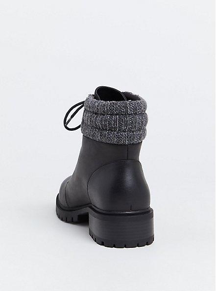 Black Faux Leather Sweater Trimmed Hiker Boot (Wide Width), BLACK, alternate