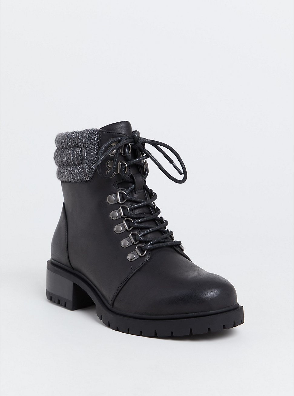 Plus Size Black Faux Leather Sweater Trimmed Hiker Boot (WW), BLACK, hi-res