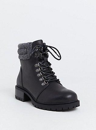 Black Faux Leather Sweater Trimmed Hiker Boot (Wide Width), BLACK, hi-res