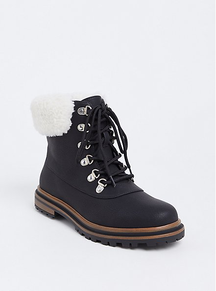 Black Faux Suede & Faux Fur Hiker Boot (WW), BLACK, alternate