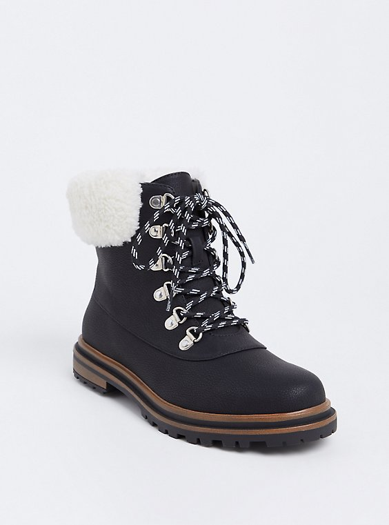 Black Faux Suede & Faux Fur Hiker Boot (WW), , hi-res