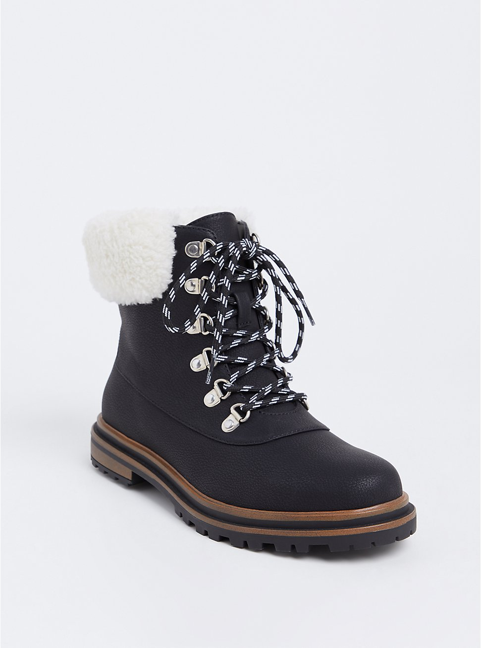 Black Faux Suede & Faux Fur Hiker Boot (WW), BLACK, hi-res