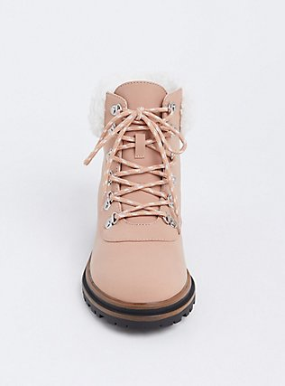 Blush Pink Faux Suede Shearling Hiker Boot (WW), BLUSH, alternate