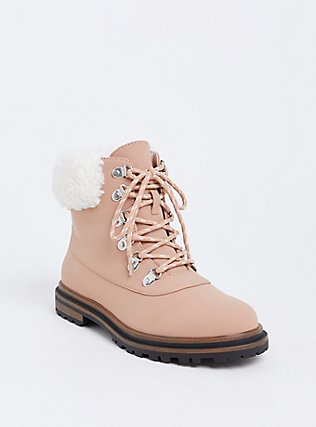 Blush Pink Faux Suede Shearling Hiker Boot (WW), BLUSH, hi-res