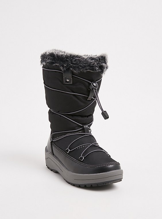 Black Nylon Faux Fur Trimmed Drawstring Cold Weather Boot (WW) , , hi-res