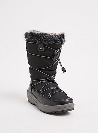 Black Nylon Faux Fur Trimmed Drawstring Cold Weather Boot (Wide Width) , BLACK, hi-res