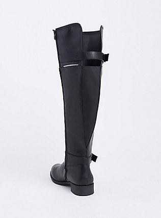 Plus Size Black Faux Leather Zipper & Buckle Over-the-Knee Boot (WW), BLACK, alternate