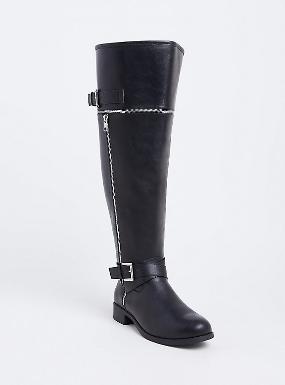 Black Faux Leather Zipper & Buckle Over-the-Knee Boot (WW), , hi-res