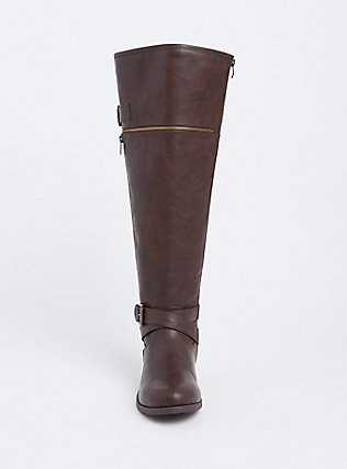 Brown Faux Leather Zipper Buckle Over The Knee Boot (WW), BROWN, alternate