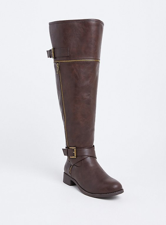 Brown Faux Leather Zipper Buckle Over The Knee Boot (WW), BROWN, hi-res