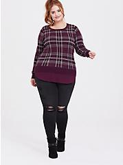 Burgundy Purple Plaid 2fer Pullover Sweater, PLAID - PURPLE, alternate
