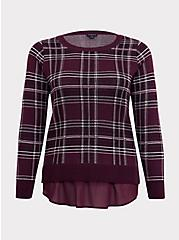 Burgundy Purple Plaid 2fer Pullover Sweater, PLAID - PURPLE, hi-res