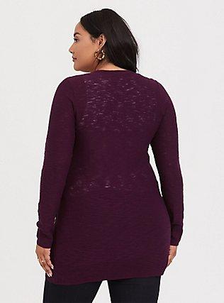 Burgundy Purple Textured Slub Boyfriend Cardigan, HIGHLAND THISTLE, alternate