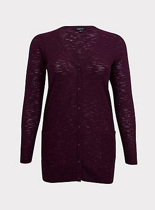 Burgundy Purple Textured Slub Boyfriend Cardigan, HIGHLAND THISTLE, flat