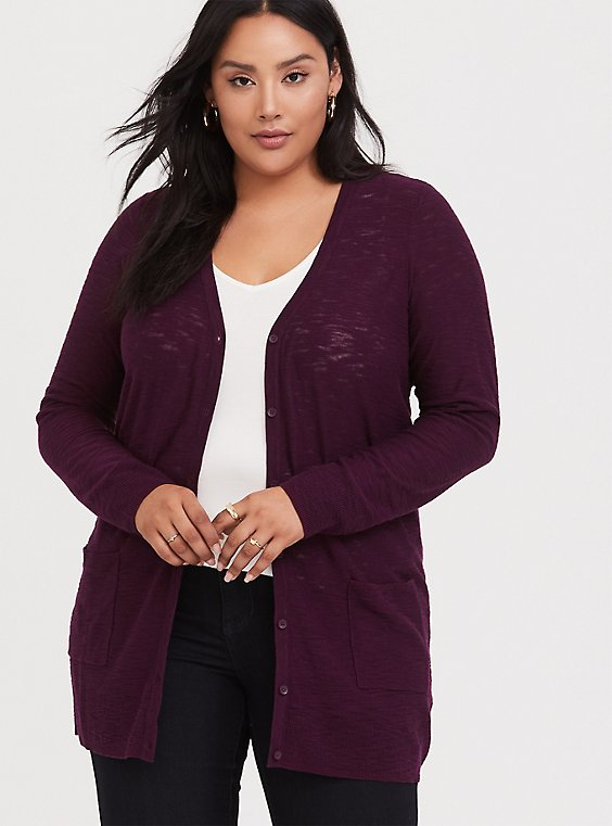 Burgundy Purple Slub Boyfriend Cardigan, , hi-res