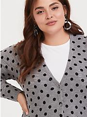 Grey & Black Polka Dot Boyfriend Cardigan, DOTS - GREY, alternate