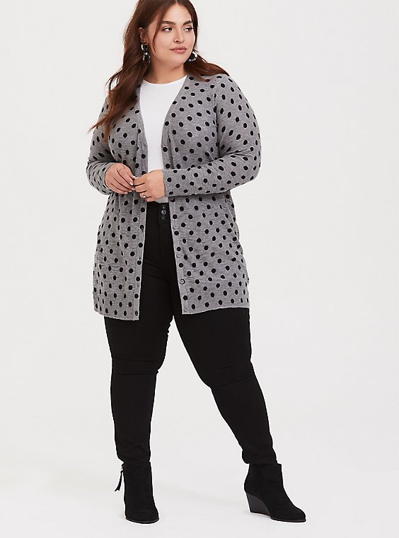 Grey & Black Polka Dot Boyfriend Cardigan, DOTS - GREY, hi-res