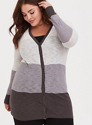 Grey Colorblocked Textured Slub Boyfriend Cardigan, STRIPE - GREY, alternate