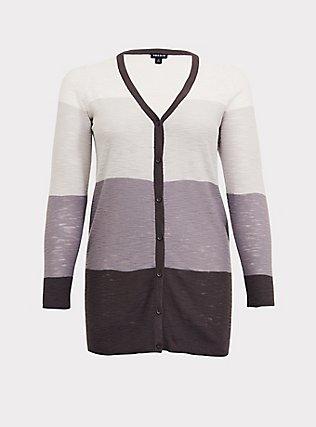 Grey Colorblocked Textured Slub Boyfriend Cardigan, STRIPE - GREY, flat