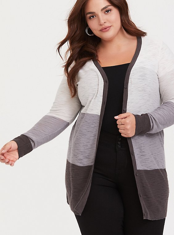 Grey Colorblocked Textured Slub Boyfriend Cardigan, , hi-res