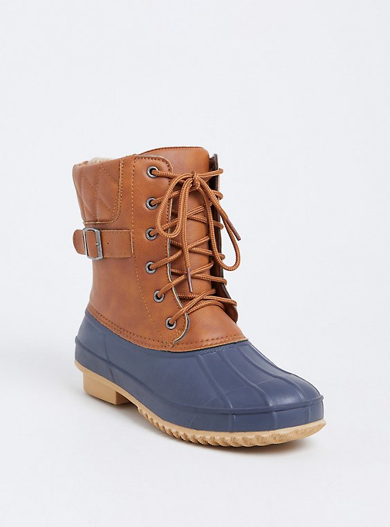 Navy & Cognac Faux Leather Cold Weather Bootie (Wide Width), , hi-res