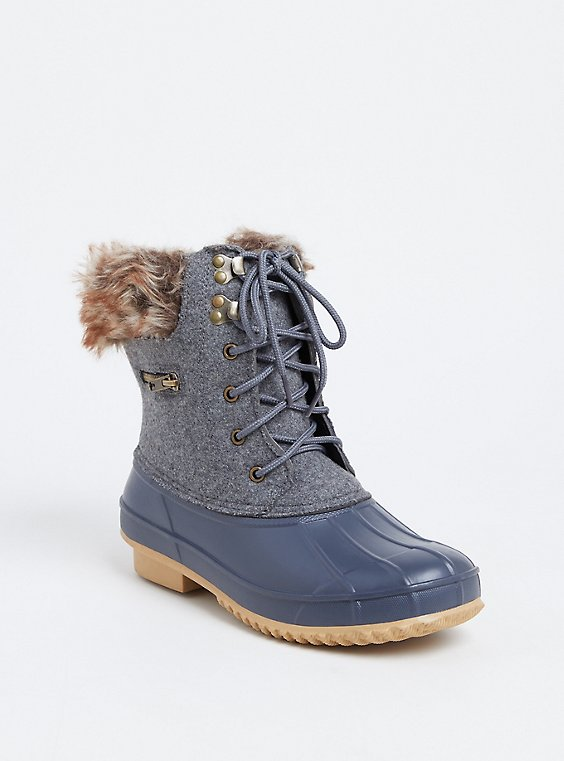 Heather Grey Faux Leather & Faux Fur Cold-Weather Bootie, , hi-res