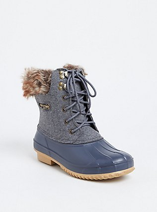 Heather Grey Faux Leather & Faux Fur Cold-Weather Bootie, GREY, hi-res