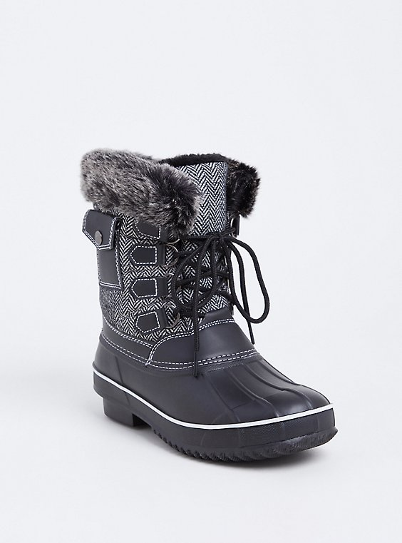 Black Herringbone Faux Leather & Faux Fur Cold-Weather Bootie, , hi-res
