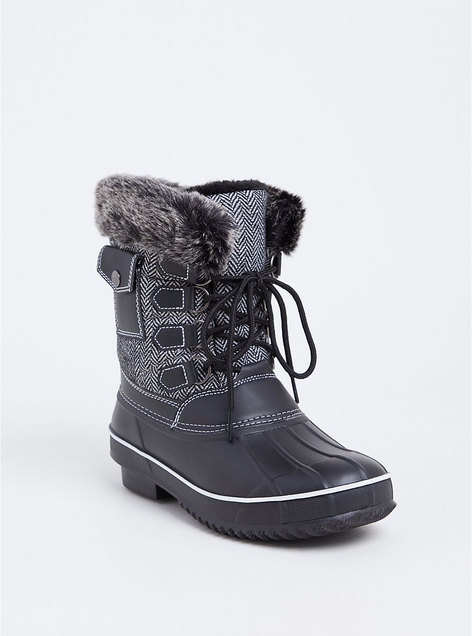 Black Herringbone Faux Leather & Faux Fur Cold-Weather Bootie (WW), BLACK, hi-res
