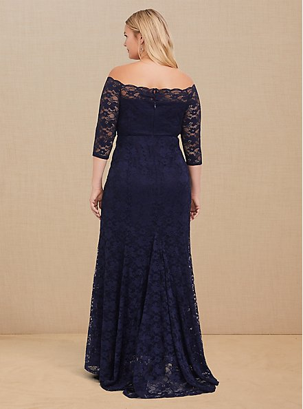 Special Occasion Navy Lace Off Shoulder Gown, PEACOAT, alternate