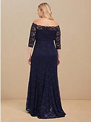 Plus Size Special Occasion Navy Lace Off Shoulder Gown, PEACOAT, alternate