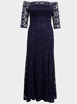 Special Occasion Navy Lace Off Shoulder Gown, PEACOAT, flat