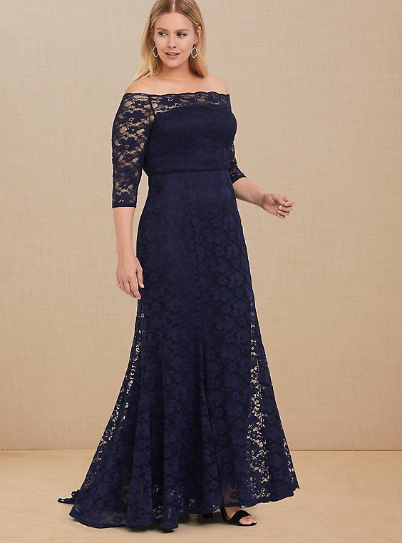 Special Occasion Navy Lace Off Shoulder Gown, , hi-res