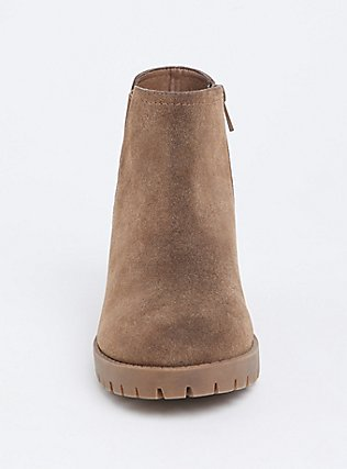 Brown Faux Suede Chelsea Bootie (WW), BROWN, alternate