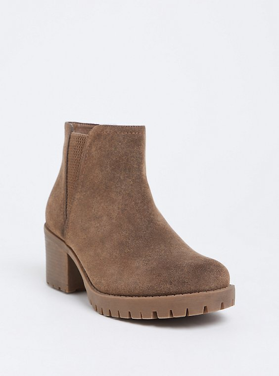 Brown Faux Suede Chelsea Bootie (WW), , hi-res