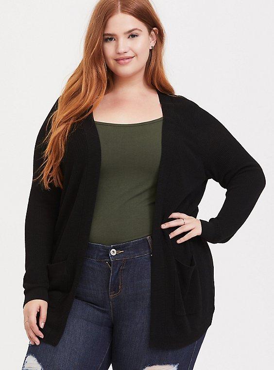 Plus Size Black Open Front Cardigan, , hi-res