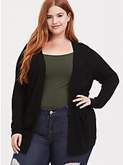 Black Open Front Cardigan, DEEP BLACK, hi-res