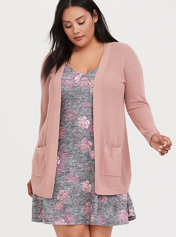 Plus Size Dusty Pink Rib Open Front Cardigan, , hi-res