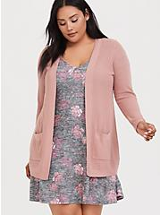 Dusty Pink Rib Open Front Cardigan, DUSTY QUARTZ, hi-res