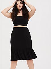 Black Studio Knit Mermaid Midi Skirt & Crop Top Set, DEEP BLACK, alternate