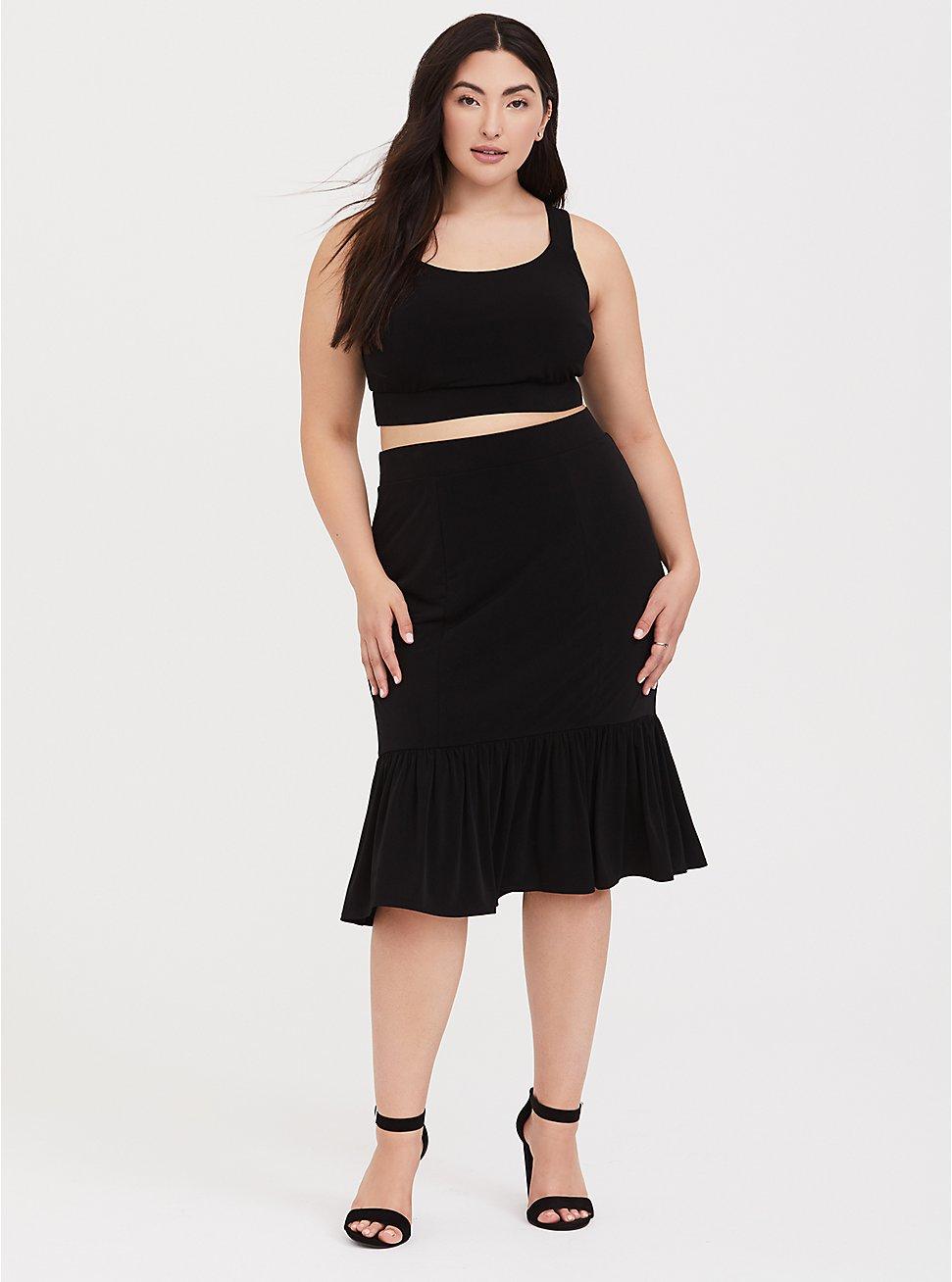 Black Studio Knit Mermaid Midi Skirt & Crop Top Set, DEEP BLACK, hi-res