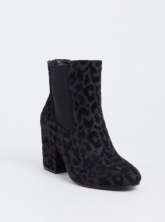 Black Velvet Metallic Leopard Bootie (Wide Width), , hi-res