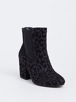 Black Velvet Metallic Leopard Bootie (Wide Width), ANIMAL, hi-res