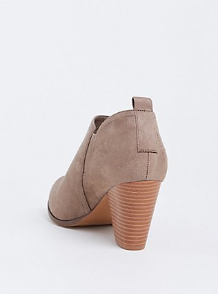Tan Faux Suede Stacked Heel Bootie (WW), TAN/BEIGE, alternate