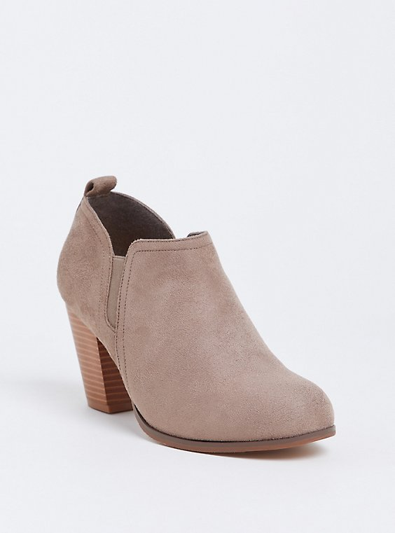 Tan Faux Suede Stacked Heel Bootie (WW), , hi-res